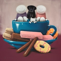 Tea and Biscuits by Doug Hyde - Original Drawing on Board sized 25x25 inches. Available from Whitewall Galleries
